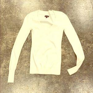 Express white V Neck ribbed sweater